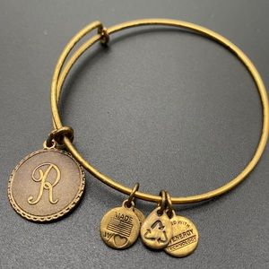 Alex and Ani R initial Gold tone bangle bracelet